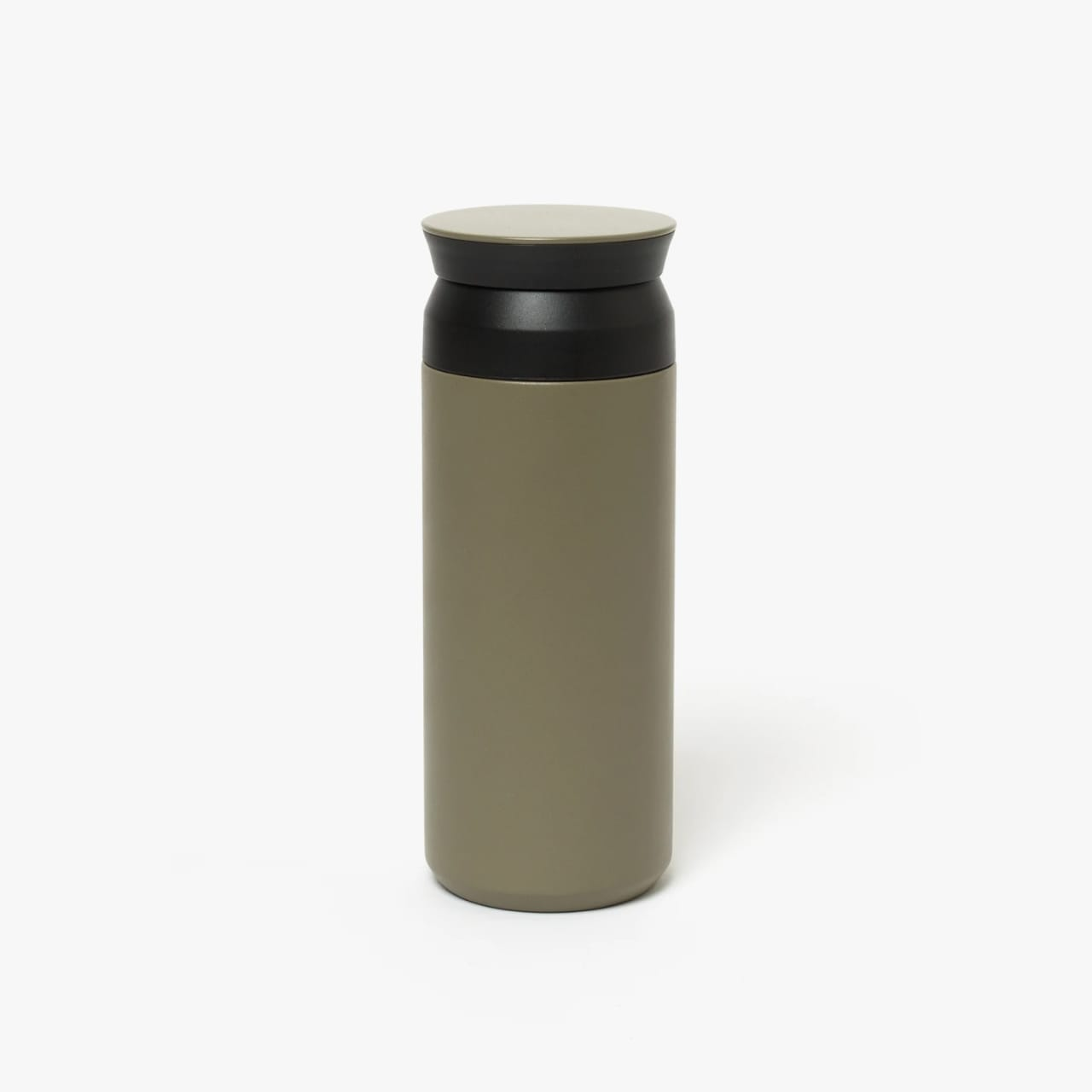 Olive drab green insulated bottle with flared screw lid and flat top.